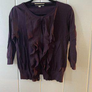 LOFT Purple Ruffle Cardigan
